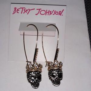 Betsey Johnson Dangly Skull Earrings w/ Crowns